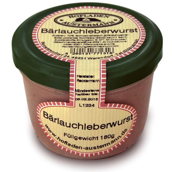 Bärlauch Leberwurst 180g, Hofladen Austermann