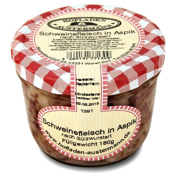 Schweinefleisch in Aspik 180g, Hofladen Austermann