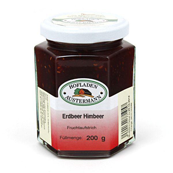 Erdbeer-Himbeer Fruchtaufstrich 200g, Hofladen Austermann
