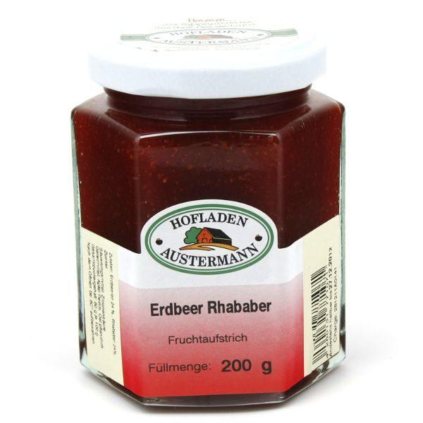 Erdbeer-Rhababer Fruchtaufstrich 200g, Hofladen Austermann