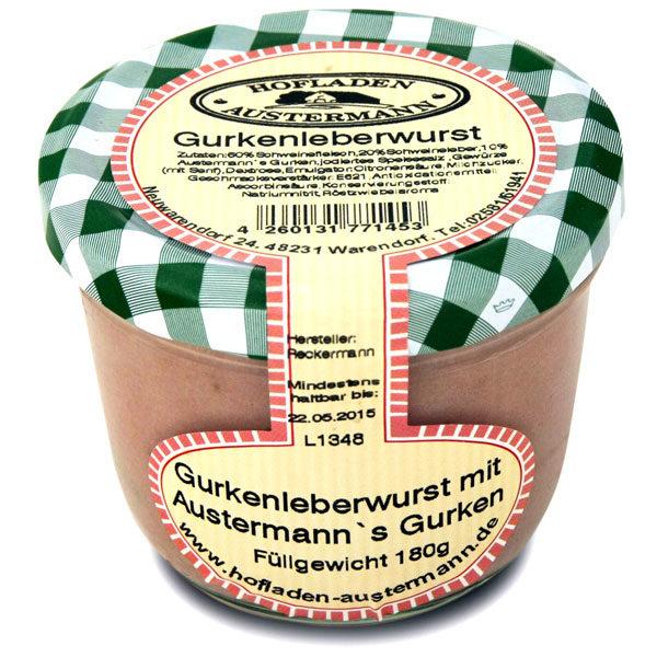 Gurkenleberwurst mit Austermann's Gurken, 180g, Hofladen Austermann